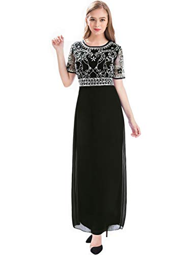 MANER Women Chiffon Beaded Embroidered Sequin Long Gowns Prom Evening Bridesmaid Dress(XL,Black)