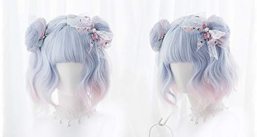 New Straight Pink Blue Color Cosplay Wigs Lolita Harajuku Wig Hair Long curly Wig for women (Meatball head)