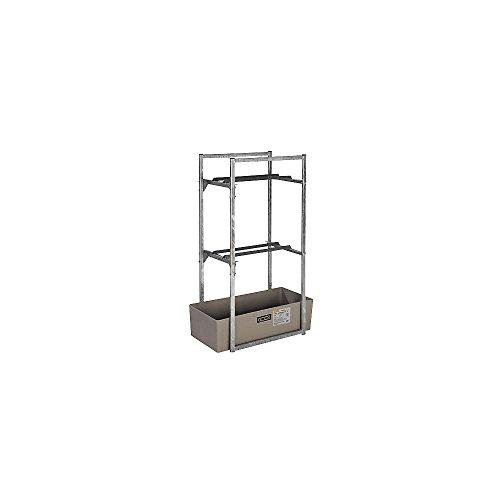 Fassregal für 2 Stück 60-l-Fässer, aus Stahl, verz inkt, mit GFK-Auffangwanne 65 l, BxTxH 450x820x131