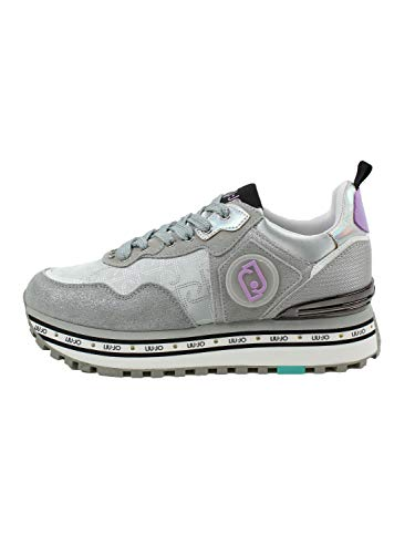 Liu Jo Maxi Wonder 1 Sneaker Running Satin Silver...