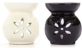 Hosley Set of 2 Black and White Ceramic Oil Warmers 3.75 Inches High. Ideal for spa and Aromatherapy. Use Brand Wax Melts ...