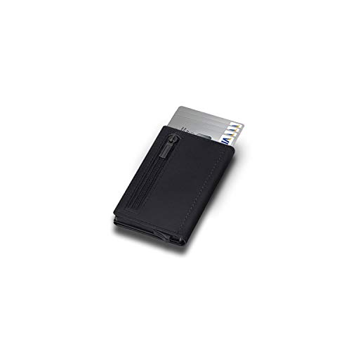 LIDEO - Kartenetui Herren RFID Schutz - Premium Qualität Echtleder - Kreditkartenetui mit Münzfach - 10 Kartenfächer & Magnetverschluss - Pop-Up Funktion - Geldbörse Herren klein RFID Schutz Schwarz
