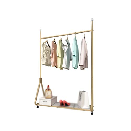 CSQ-Wall Coat Racks Mobile Clothes Rail, Creativity Metal Drying Rack Horizontal Bar Dress Stand Golden Boutiques Retail Display Stand Clothes Shelves (Color : Gold, Size : 16080CM)