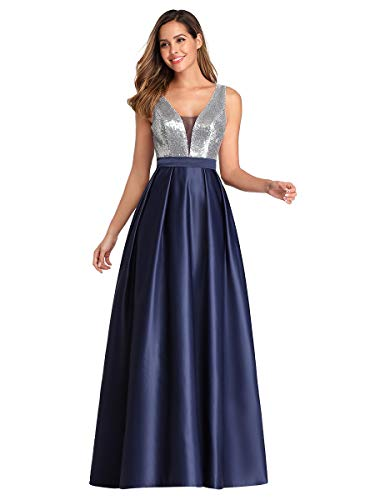 Ever-Pretty A-línea Vestido de Noche Cuello en V Lentejuela para Mujer EZ07638
