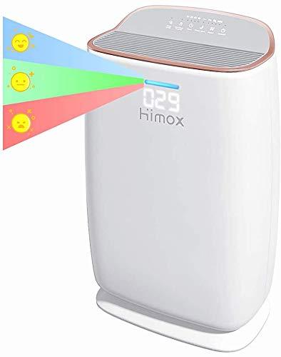 HIMOX Purificador Aire Hepa, Smart Purificador de Aire con Filtro Hepa de Grado Médico, 57m²/h, Indicador de Calidad de Aire, Modo Sueño, Generador ozono, Captura Alergias, Humo, Olor, Mascota H04RG