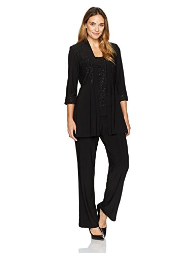 R&M Richards Women's Two Piece Glitter and Lace Pant Set Missy, Black, 14