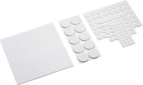 Metafranc Filz-Gleiter-Sortiment 131-teilig - selbstklebend - weiß - Effektiver Schutz Ihrer Möbel & Stühle / Möbelgleiter-Set für empfindliche Böden / Stuhlgleiter / Bodengleiter / 281170