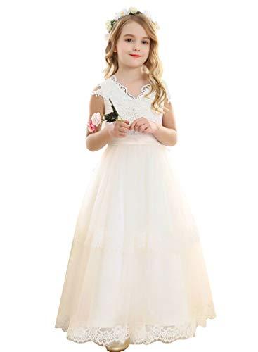 Bow Dream Vintage Long Tulle Flower Girl Dresses Kids Wedding Birthday First Communion Ivory 8