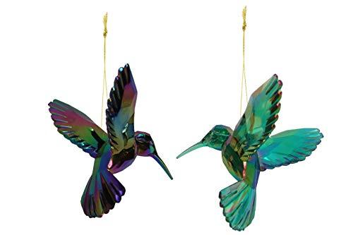 Gisela Graham Noël Bleu Violet Vert Paillettes Perles oiseau sur pince Décoration
