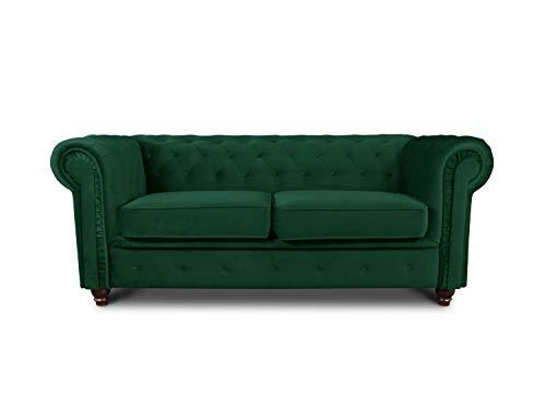 Sofa Chesterfield Asti 2-Sitzer, Couchgarnitur 2-er, Sofagarnitur, Couch mit Holzfüße, Polstersofa - Glamour Design, Velours (Dunkelgrün (Velvet 78))