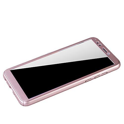 König Design Schutz-Case geeignet für Huawei Honor 7C Hülle mit Panzerglas | Sturzsichere Full Cover Handyhülle in Rose - 4