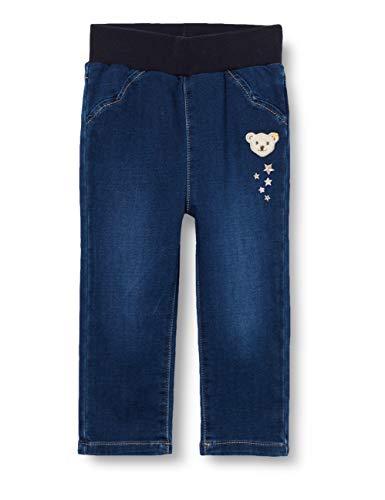 Steiff Baby-Mädchen mit süßer Teddybärapplikation Jeanshose, Mood Indigo, 062
