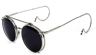 Flip cover retro Sunglasses for Unisex hook up Metal frame Sunglasses mirror