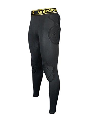 TOPWISE Body Safe Guard Gepolsterte Kompressionsshirts, Lange Ärmel, Schultergerippt, Brustschutz, Anzug für Fußball, Basketball, Paintball, Rugby, Parkour Extreme Übungen, Pant, Medium