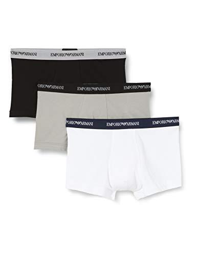 Emporio Armani Underwear 111357CC717 - Calzoncillos Para Hombre, Multicolor (BIANCO/NERO/GRIGIO 02910), talla del fabricante: L, paquete de 3