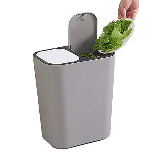 YUSHI Cubos de Basura Cocina cilíndrico extraíble,con 2 Compartimentos,Doble contenedor con Separador,Contenedor De Basura Plástico Capacidad de 2 x 15L,para Oficina Baño Dormitorio,Gris