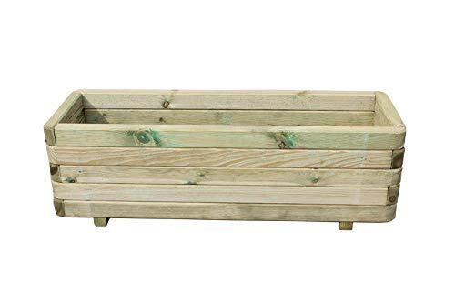 AVANTI TRENDSTORE - Hannes - Jardinera de madera maciza adecuada para balcón/jardín, ideal para flores y decoraciones. Disponible en diferentes tamaños (40x35x120 cm)