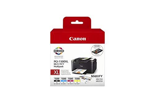 Canon PGI-1500 XL Druckerpatronen Multipack - Patronen Tintenpatronen (Schwarz Cyan Magenta Gelb) Original für MAXIFY Drucker