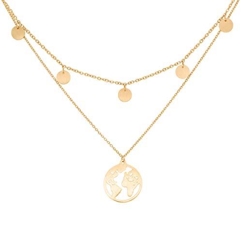 a little something ® Halskette Noord   Damen Layer Kette mit 18 Karat Vergoldung in Gold   Inklusive nachhaltiger Geschenkverpackung (FSC®-Zertifikat)