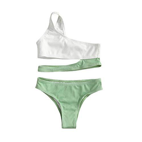 I3CKIZCE Traje de baño para niña de 7 a 15 años, 2 piezas, bikini de sirena, tankini, encaje con lazo, para el hombro, con dulce princesa, playa, cosplay, etc. Verde 9-10 Años