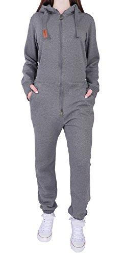 10E5 Finchgirl FG181 Damen Jumpsuit Overall Einteiler Jogging Anzug D.Grau XL