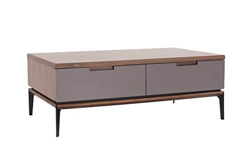 Amazon Marke - Rivet Couchtisch, 120 x 70 x 44,5cm, Nussbaum/Grau