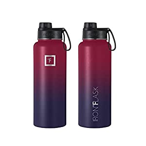 IRON °FLASK Sports Water Bottle - 40 Oz, 3 Lids (Spout Lid), Vacuum Insulated Stainless Steel, Hot Cold, Modern Double Walled, Simple Thermo Mug, Hydro Metal Canteen (Dark Rainbow)