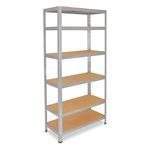 shelfplaza® HOME Estantería galvanizada 200x30x50cm / estanterías fuertes, estantería de 6 baldas, estanterías metálicas almacenaje, estantería de metal insertable, capacidad de carga de 145kg