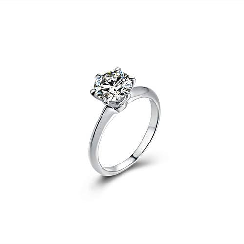 Ubestlove Verlobungsring Paar Weißsgold 6 Krallen Damenring Mit Gravur 1Ct Moissanit Ringe Größe 56
