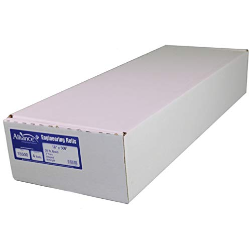 "Alliance Paper Rolls, Bond Engineering, 18"" x 500', 92 Bright (2 Rolls) 3"