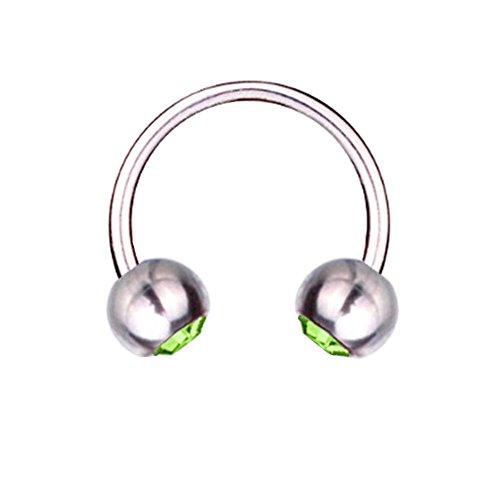Piercing Barbell Circular de herradura Titanium 1,6 mm, elementos de SWAROVSKI de color verde