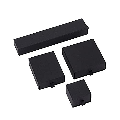 The Jewerbox - Joyero para joyas, color blanco, rosa, negro, collar, pendientes, pulseras, broches, embalaje, caja de papel para cajones de regalo (color: negro, tamaño: 5 x 5 x 3,8 cm)