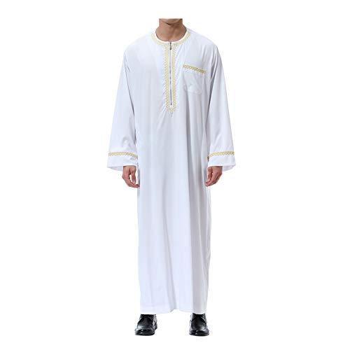 Deylaying Muslim Herren islamisch Dubai Robe - Reißverschluss O-Ausschnitt Lange Ärmel Araber Thobe Saudi Stil Dishdasha Kaftan Mittlerer Osten Ethnisch Kandoura