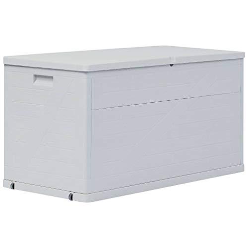 vidaXL Auflagenbox 420L Hellgrau Kissenbox Gartenbox Aufbewahrungsbox Truhe