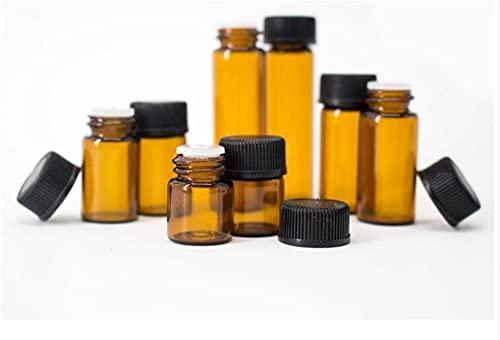 CROSYO 50 unids 1 ml 2 ml 3 ml 5 ml ámbar de Aceite Esencial de Vidrio de Vidrio Botella Mini Vidrio Botella de Aceite Esencial con Manguera de Vidrio Viales de Vidrio