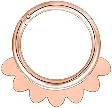 TonyJameJPStore ZS 1PC Brass Septum Piercings 20G Nariz Piercings Nose Rings Daith Piercings Nariz Earrings Conch Rook Piercings Body Jewelry - 10mm - H Rose Gold