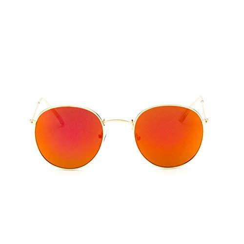 NJJX Gafas De Sol Redondas Retro Para Mujer Gafas De Sol Para Mujer Gafas De Sol Con Espejo De Aleación Ray Mujer Goldframered