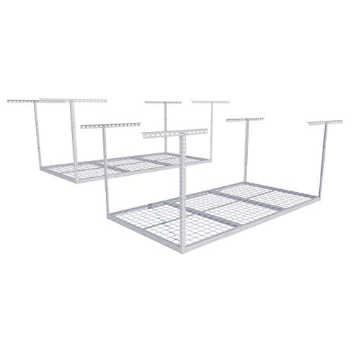FLEXIMOUNTS 2 pcs 3x6 Overhead Garage Adjustable Ceiling Storage Rack, 72' Length x 36' Width x 40' Height (2-Rack-Package White)