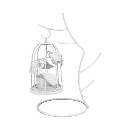 JUNGEN Portavelas de Mesa Creativo con Ramas y jaulas Colgantes de diseño Candelabro de Hierro Forjado de Metal Sostenedor de Vela Adornos Decorativos para Hogar Boda Jardín Comedor (Blanco)