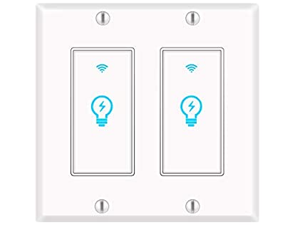 Smart Light Switch, Alexa Smart Double Switch, Smart Light Switch 2 Gang with Timing Schedule and Remote Control, Neutral Wire Needed, Compatible with Alexa and Google Home, Single Pole (2Pack)