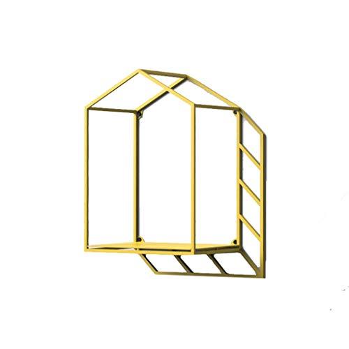 LQ-Baldas flotantes Creativo Original montado en la Pared Colgante de Pared práctico Simple Personalidad Hierro Forjado Sombra geométrica Estante de la casa (Color : Yellow, Size : B)