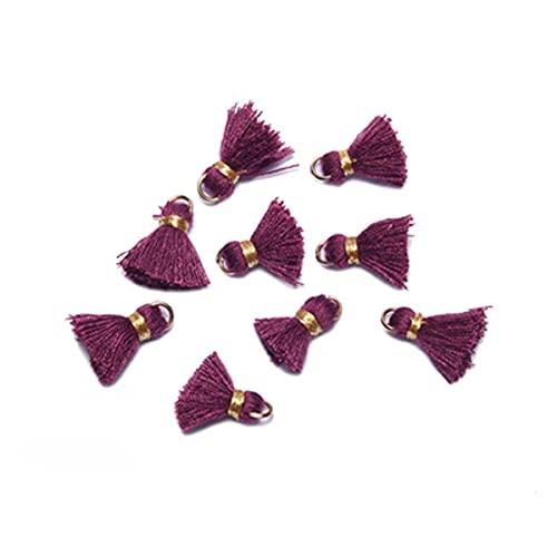 L125,1.5cm, Borla, Borla de algodón, Mini Borla, Hecho a Mano, fornituras para Pendientes, Tela con Flecos, algodón con Flecos, Decorativo, 10 Piezas / bolsa-L12522