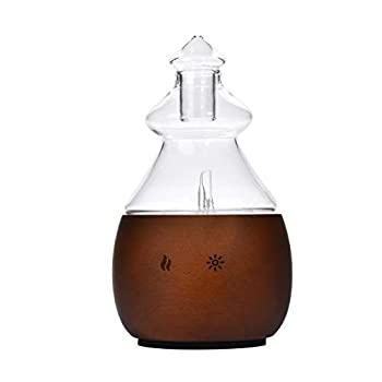 Waterless Nebulizing Essential Oil Diffuser from Wood & Glass Non-Toxic Pure Scents Nebulizer Stylish Aromatherapy Atomizer and Vaporizer for Home or Office USB Powered by Bushberry Mist