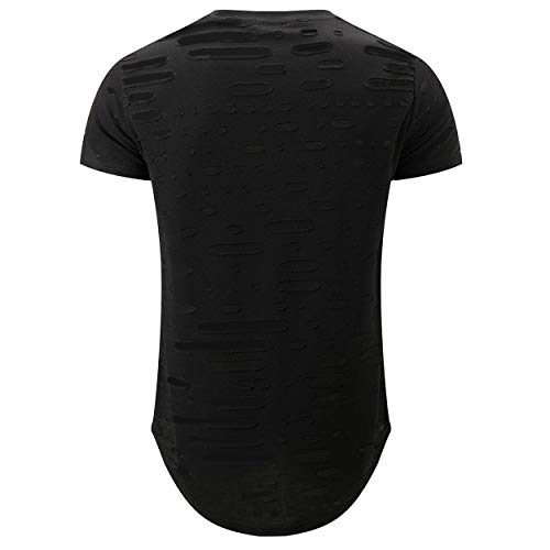 KLIEGOU Mens Hipster Hip Hop Ripped Round Hemline Hole T Shirt (05-3) (X-Large, Black)