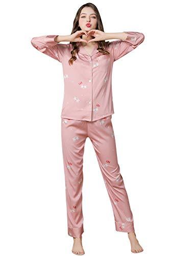 YAOMEI Schlafanzug für Damen, 2019 Damen Satin Schlafanzug Negliee Sleepshirt Paare Schlafanzug Silk Langen Ärmeln Button-Down Nachtwäsche Hosen Nachtkleid Lingerie (M, Koralle)