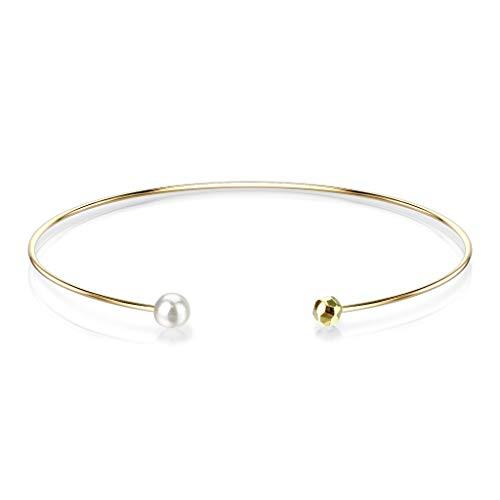 Bungsa® Offener Damen-Armreif mit Perle aus 316L Edelstahl (gold)