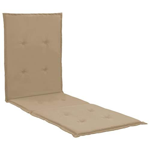 vidaXL Liegestuhl Auflage Liegenauflage Polsterauflage Liegepolster Gartenliege Sonnenliege Liege Kissen Polster Auflagen Beige 180x55x3cm