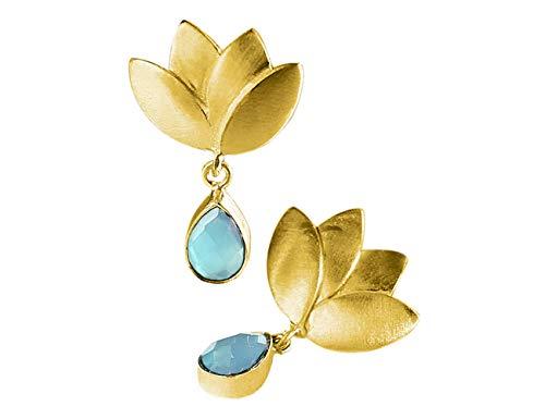 Pendientes Flor de Loto Oro 18K con Piedra Natural Aqua Calcedonia para Mujer