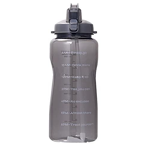 SunshineFace Botella de agua de 1 galón/130 onzas de gran capacidad con marcador de tiempo jarra de agua de paja para deportes fitness