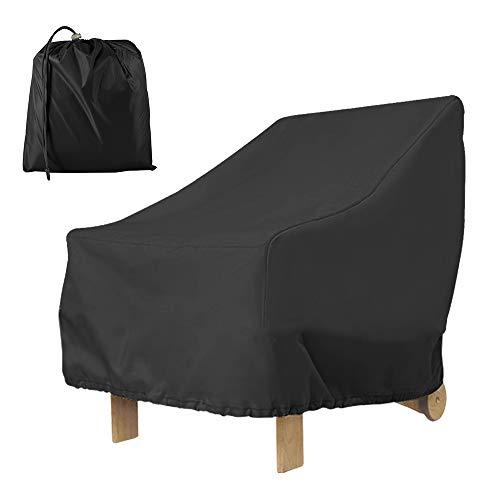 Funda para sillón de jardín Exterior con Asiento Profundo 420D, Impermeable, protección para Silla de Patio, antirayos UV, antiviento, con Cuerda y Hebilla, 80 x 85 x 91 cm